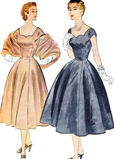 1950s Evening Dress Pattern McCalls 9827 Full Skirt Shaped Waist Evening Gown Sweetheart Neckline Womens Vintage Sewing Pattern Bust 36.