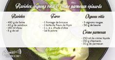 chéri(e), c'est moi le chef - Recette du 04/04/17 : ravioles - oignons rôtis - crème parmesan épinards