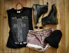 Grunge Style girl black boots shorts clothes grunge outfit cutoffs rocker touch