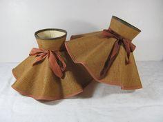 Vintage 50s Burlap Lampshades Ruffled Set of 2   by LavenderGardenCottag etsy