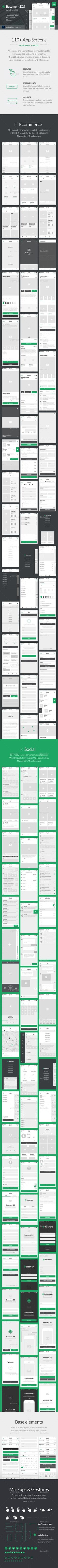 Basement iOS Wireframe Kit: 110+ App Screens for Photoshop - User Interfaces Web Elements