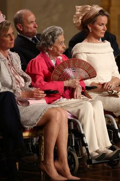 Belgian Princess Astrid, Queen Fabiola and Princess Mathilde during the Abdication Of King Albert II Of Belgium, & Inauguration Of King Philippe on 21 July  2013 in Brussels, Belgium