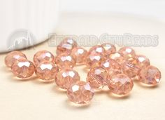Peach, 8mm, AB Fire Polished, Faceted Rondelle, 20 Pieces, 8FI13-0005