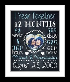 Anniversary Gift For Boyfriend Girlfriend, Chalkboard Art Print 1st 1 One 10 Year Anniversary Personalized Gifts Paper Time Together Present Anniversary Gift For Friends, Anniversary Surprise, Unique Anniversary Gifts, Personalized Anniversary Gifts, Boyfriend Anniversary Gifts, One Year Anniversary, Personalized Wedding, Boyfriend Gifts, Boyfriend Girlfriend