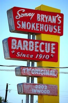 Sonny Bryan's BBQ in Dallas, Texas! Their homemade BBQ sauce comes out warm and ready to pour all over a delicious brisket sandwich. Old Neon Signs, Vintage Neon Signs, Bbq Signs, Texas Signs, Arcade, Station Essence, Roadside Signs, Bbq Pitmasters, American