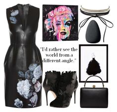 """""""Black Barbie"""" by akshera ❤ liked on Polyvore featuring Alexander McQueen, iCanvas, Charlotte Russe, Christian Dior, black and Leather"""