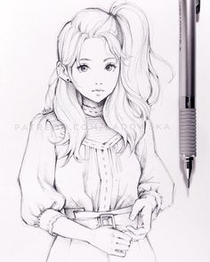 * some others from my gallery: art drawings, art sketches, anime drawings. Girly Drawings, Art Drawings Sketches Simple, Pencil Art Drawings, Cute Drawings Of Girls, Drawing Girls, Manga Drawing, Manga Art, Anime Sketch, Anime Art Girl