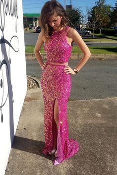 Rosy chiffon sequins prom dress, sparkly two pieces prom dress with slit