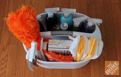 Take your cleaning caddy with you all over the house for easy access to all your cleaning necessities!