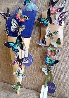Μπομπονιέρα βάπτισης κράφτ χωνί & φάκελος με πεταλούδες