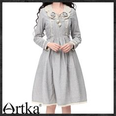 Artka Annie Pinched Waist Petal Collar Stripes Swing Dress LA10036C | ArtkaFashion - Clothing on ArtFire