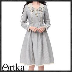 Artka Annie Pinched Waist Petal Collar Stripes Swing Dress LA10036C   ArtkaFashion - Clothing on ArtFire