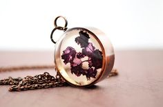 Petite boysenberry rose petals in resin, copper necklace, resin pendant, dried rose necklace