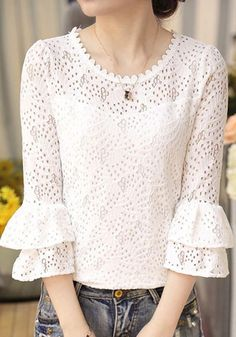 White Cut Out Ruffle Flare Sleeve Sweet Cute Going out Blouse Casual Dresses, Casual Outfits, Cute Outfits, Fashion Outfits, Blouse Styles, Blouse Designs, Vetement Fashion, Lace Tops, Skirt Outfits