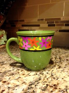 14 oz Hand Painted Green Floral Banned Stoneware by Useless2Unique, $11.99