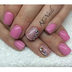 Pale pink acrylic overlay, glitter accent nail with Swarovski crystals KCNails - Nail Art Designs Fancy Nails, Pink Nails, Pretty Nails, Overlay Nails, Acrylic Overlay, Toe Nail Art, Toe Nails, Colorful Nail Designs, Nail Art Designs