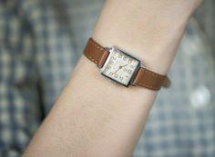 Square women's watch Luch silver shade wrist watch by SovietEra, $63.00