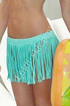 Spódniczka plażowa z frędzelkami, turkusowa