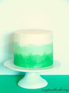 Green Ombre Swirl Cake   www.sayitwithcake.org   #stpatricksday