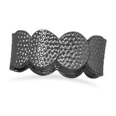 Textured Gold or Black Plated Circle Design Bangle Bracelet