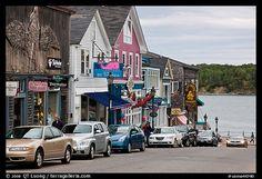 Street, Frenchman Bay and Bar Island. Bar Harbor, Maine, USA