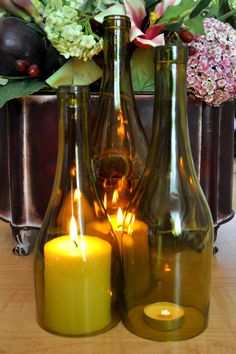 Three Tiered Wine Bottle Hurricane Candle Lamps by TipsyGLOWs, $20.00