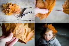 DIY leaf crown / Krone aus Herbst Blättern Why not celebrate the season by making a super-easy crown of leaves to adorn your favorite noggin? These are perfect for play or a DIY photo prop. Make A Crown, Diy Crown, Nature Crafts, Fall Crafts, Diy Crafts, Leaf Crown, Flower Crown, Feather Crown, Diy Photo