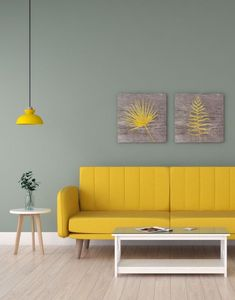 Fresh gorgeous living room with pale green accent wall and yellow sofa. Yellow Accent Walls, Yellow Couch, Beige Walls, Best Wall Colors, Wall Paint Colors, Interior S, Interior Design, Interior Ideas, Wall Ideas