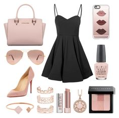 """""""Tones of Pink"""" by chemical-reaction ❤ liked on Polyvore featuring OPI, Casetify, Christian Louboutin, Michael Kors, Stila, New Look, Ray-Ban, Thomas Sabo, Bobbi Brown Cosmetics and Glamorous"""