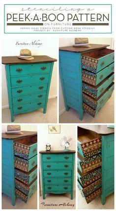 Hometalk | Stenciling A Peek-A-Boo Pattern On Furniture
