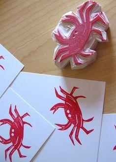 crab block stamp + print