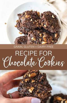 Packed full of plant-based protein, and rich in superfoods and antioxidants, this Recipe for Chocolate Cookies is healthy and delicious! #chocolatecookies #chocolatecookiesrecipe #glutenfreechocolatecookies #grainfreechocolatecookies Gluten Free Chocolate Cookies, Chocolate Cookie Recipes, Gluten Free Cookies, Healthy Sweet Treats, Healthy Desserts, Clean Eating Sweets, Processed Sugar, Plant Based Protein, Sugar Cravings