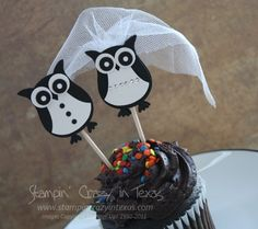 This made me smile! The stampin Up owl punch used to make a bride & groom ~ Very clever