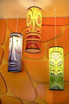 Each lamp is a different color: green, orange and purple. Each lamp features a distinct two-faced Tiki on a cylindrical plastic shade. Each of the mini prints and the COAs are all matching numbers. Midcentury Artwork, Tiki Art, Tiki Tiki, Tiki Bar Decor, Polynesian Art, Vintage Tiki, Shabby, Tiki Room, Hanging Pendants