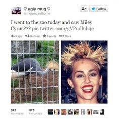 Miley Cyrus at the zoo tweet