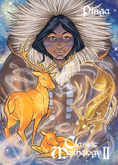 "Pinga – In Eskimo (Inuit) Mythology, ""Pinga"", ""The one who is up on high"", is the omnipresent female spirit who watches carefully over men's actions, especially their treatment of animals. She protects all living creatures and controls the hunt. She is also the Inuit goddess of fertility and healing. Among the inland ""Eskimo"", she was named ""Mother of the Caribou"" and was believed to dwell in heaven. Illustration: Amy Clark"