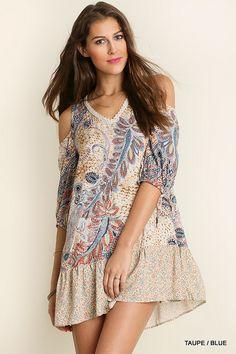 @knittedbelle #knittedbell  Cold Shoulder Print Dress - Taupe/Blue