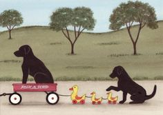 Items similar to Black Lab /Labrador retriever family taking ride in wagon (with ducks) / Lynch signed folk art print on Etsy Black Labs, Black Labrador, Big Dogs, I Love Dogs, Homeless Dogs, Most Popular Dog Breeds, Purebred Dogs, Labrador Retriever Dog, German Shepherd Dogs