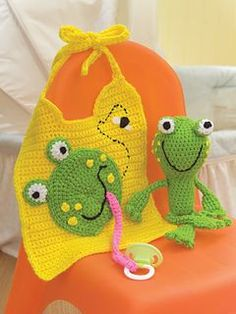 Fun Froggy Crochet Bib & Rattle pattern by Nancy Anderson – a - Babysachen Crochet Baby Bibs, Crochet Baby Clothes, Crochet Gifts, Cute Crochet, Crochet For Kids, Beautiful Crochet, Crochet Toys, Baby Knitting, Knit Crochet