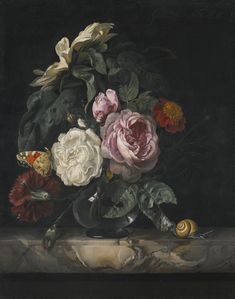 Willem van Aelst | Still Life of Roses, a Carnation and a Sunflower in a Glass Vase, on a Marble Ledge, 1675