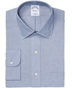 Brooks Brothers Men's Classic/Regular Fit Non-Iron Solid Navy Dress Shirt - Blue 17.5 34
