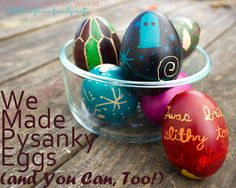 how to make pysanky eggs, including a TARDIS pysanka and a Jabberwocky pysanka!