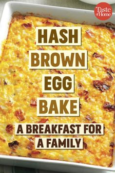 egg meals A package of frozen potatoes makes this hash brown egg casserole simple to prepare. Featuring bacon and cheddar cheese, this easy egg bake is tasty breakfast or brunch fare. Breakfast Egg Bake, Breakfast Casserole Easy, Breakfast Dishes, Breakfast Recipes, Sausage Breakfast, Brunch Egg Dishes, Easy Egg Casserole, Christmas Breakfast Casserole, Egg Recipes For Dinner