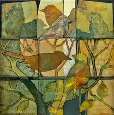 """'Ten Birds', Acrylic and Collage on Stretched Canvas, 12""""x12"""", by Judith Bergerson"""