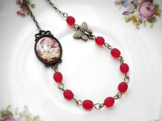 Little Red Riding Hood Necklace Red Necklace by elinacreations, $25.00