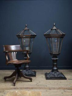 Bronze Gate Pier Lanterns , Antique Lighting, Drew Pritchard