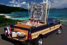 Hot tub & tailgate luau, all in one pickup truck? That's one crazy ride!