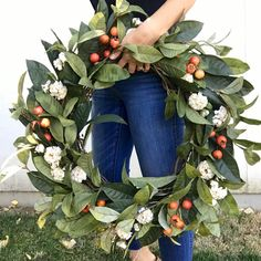 fall wreaths This stunning fall wreath with cream flowers and orange berries is perfect for your fall front door! Or hang it over your fall mantle or in your entryway over a large mirror. Autumn Wreaths For Front Door, Diy Fall Wreath, Fall Diy, Winter Wreaths, Wreath Ideas, Summer Wreath, Fall Front Doors, Front Porch, Easy Fall Wreaths