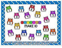 Monster {Make Ten} Addition Partner Game - Klassenzimmer-Freebies - Kinderspiele Addition Activities, Subtraction Activities, Addition Games, Numeracy, Ten Games, Math Games, Maths, Classroom Freebies, Classroom Games