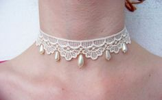 Lace Choker Necklace  25 mm 1 inch Lace / Charm by SparkleBaubles